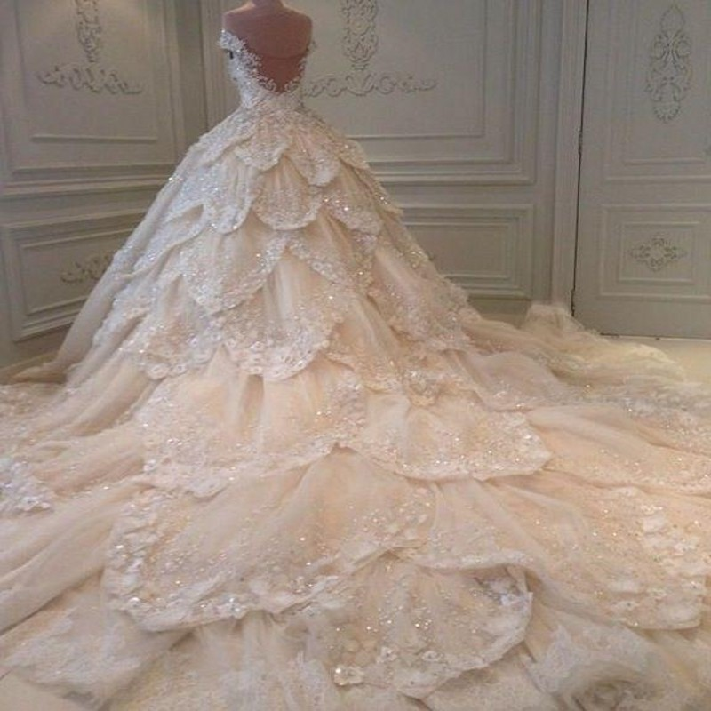 Handmade Wedding Dresses Chicago : Cinco wedding dress a line applique beaded dresses long g
