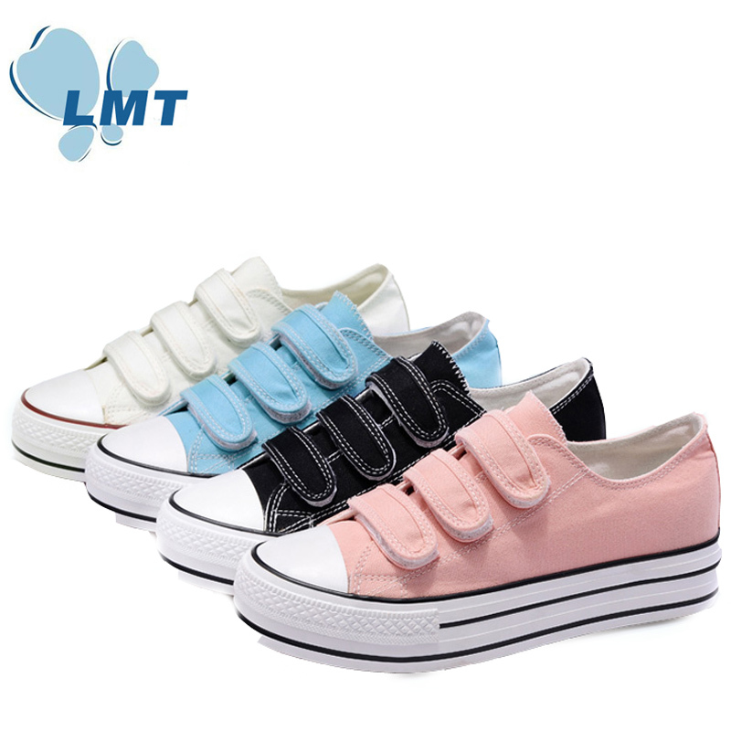 4 colors velcro thick sole new model canvas shoes in