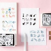 12 шт./компл. японский стиль Мини Печать в виде цветка деревянные резиновые штампы для скрапбукинга ручной работы карточка самодельная печать фотоальбом Craft подарок