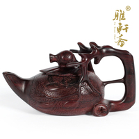 Rosewood mahogany wood sculpture ornament crafts business gift teapot Home Furnishing decoration quality of pomegranate