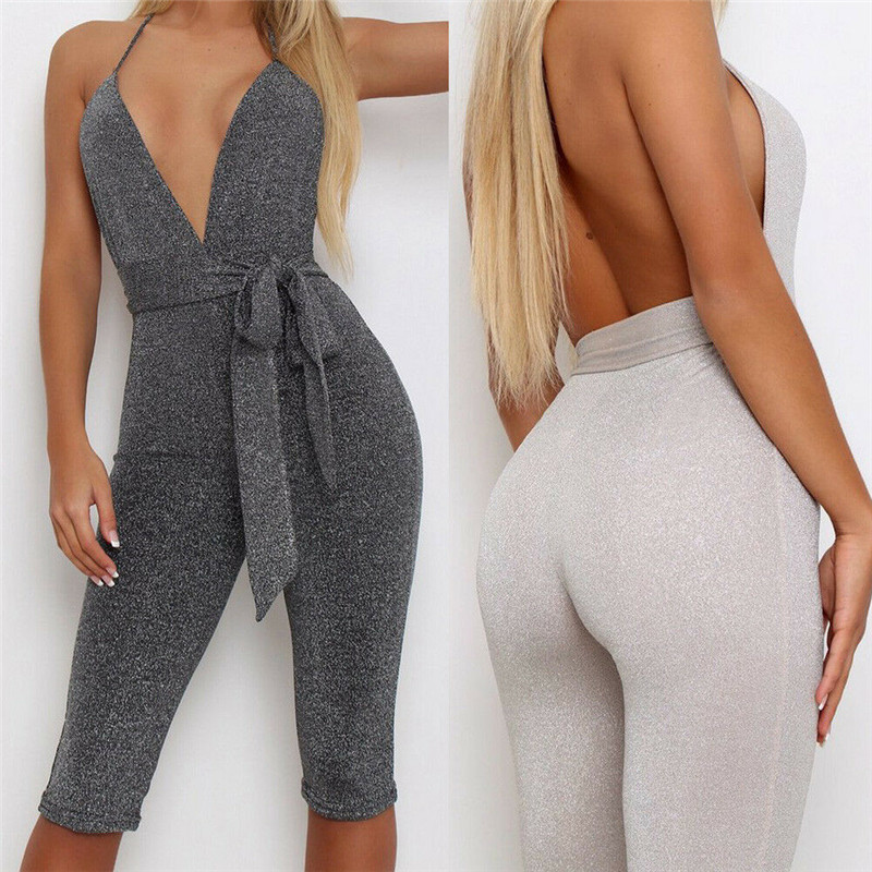 US STOCK Women's Sport  Gym Rompers Suit Fitness Workout Jumpsuits