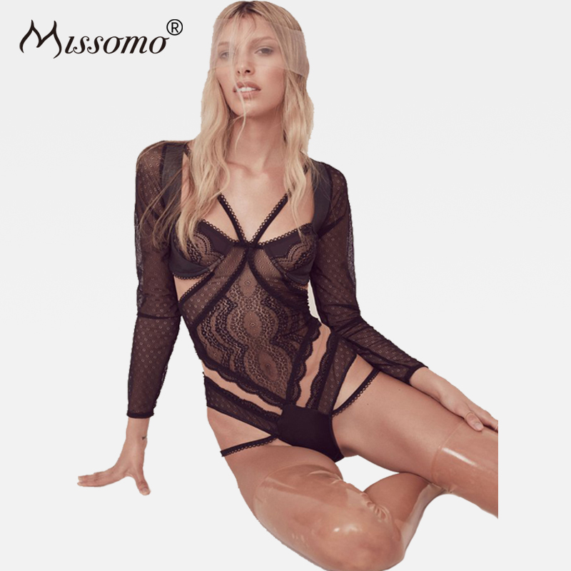 Missomo Women Lace Sexy Bodysuit Backless Long Sleeve Rompers Push Up Underwire Playsuits 2018 Spring Summer New Fahion Overalls|Bodysuits|   - AliExpress