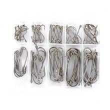 100Pcs/Box Silver Fishhooks Hot Sale Fishing Hooks Tackle Set With Box 10 Sizes Mixed Fresh Water Fishing Hooks Dropshipping