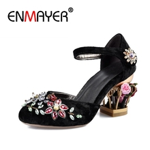 ENMAYER Fashion Bling Crystal Flower Women Pumps Bird Cage Heels Ladies Party Wedding Shoes Woman Luxury Noble CR836