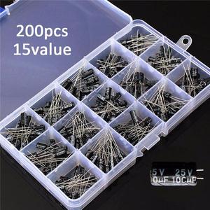 Image 1 - Kit de caja surtido de condensadores electrolíticos de alta calidad, 15 valores, 200 uds, almacenamiento de organización, 0,1 220uF