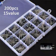 Kit de caja surtido de condensadores electrolíticos de alta calidad, 15 valores, 200 uds, almacenamiento de organización, 0,1-220uF