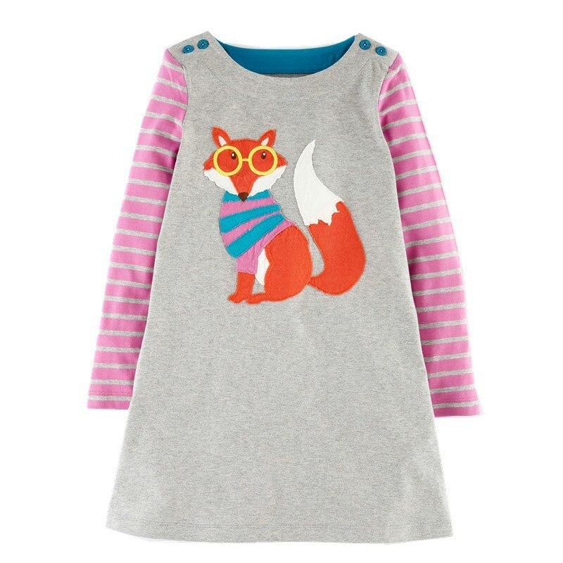 Kidsalon Baby Girl Dresses with Animal Applique 2017 Brand Princess Dress Kids Clothes Tunic Jersey Cotton Children Dresses girls set with applique animal dress