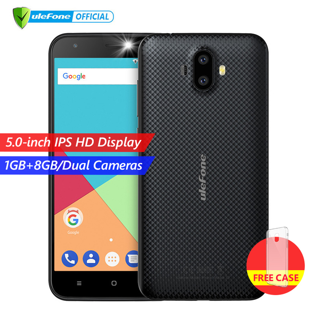 Ulefone S7 Dual Rear Cameras Mobile Phone 5.0 inch HD MTK6580A Quad Core Android 7.0 1GB  RAM 8GB ROM 8MP Cam 3G WCDMA Cellphone