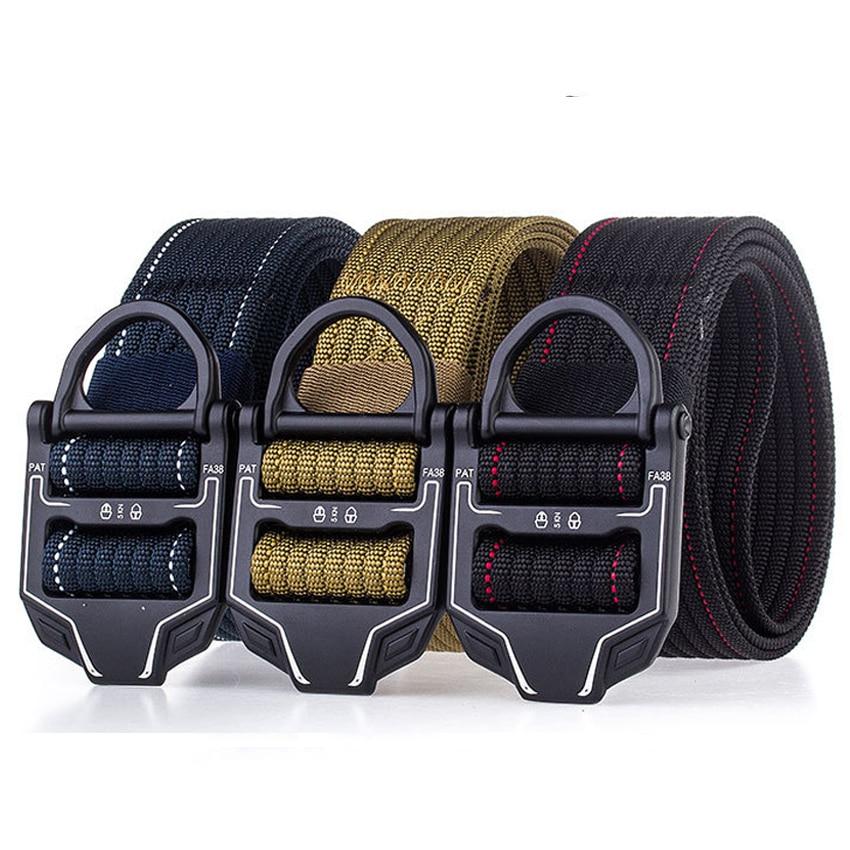 8 Color Military Equipment Tactical   Belt   Man Trousers Long   Belt   Metal Buckle Thicken Canvas Army   Belt   Men Black Nylon Waist   Belt