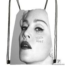 Custom Madonna Drawstring Backpack Bag Cute Daypack Kids Satchel (Black Back) 31x40cm#180531-03-49