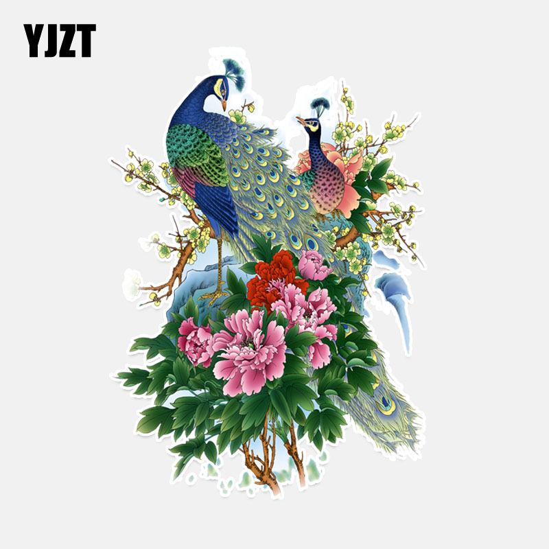 YJZT 12.6*17.6CM Coolest Peacock Decor Car Sticker Accessories Graphic Personalized High Quality Silhouette 11A0016