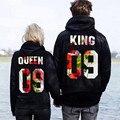 2017 KING QUEEN Funny Letter Print Sherpa Hoddies Women Men Tops Hipster Fashion Clothing Autumn Long Sleeve Sweatshirt Thrasher