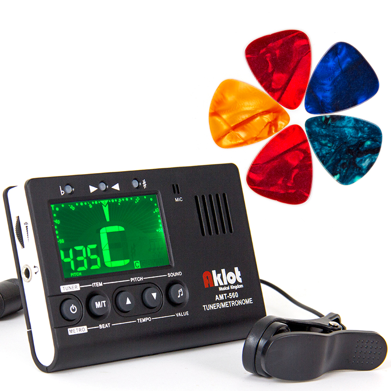 Aklot Guitar Tuner Metronome 3 in 1 for Electric Acoustic Guitar Bass Ukulele Banjo Violin w/ Piezo Pickup Picks soach 16pcs pvc guitar picks pictures random black picks bag package holder bass guitar part