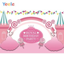 Yeele Baby Girl Princess Royal Birthday Party Pink Photo Background Cartoon Custom Vinyl Photography Backdrop For Photo Studio(China)