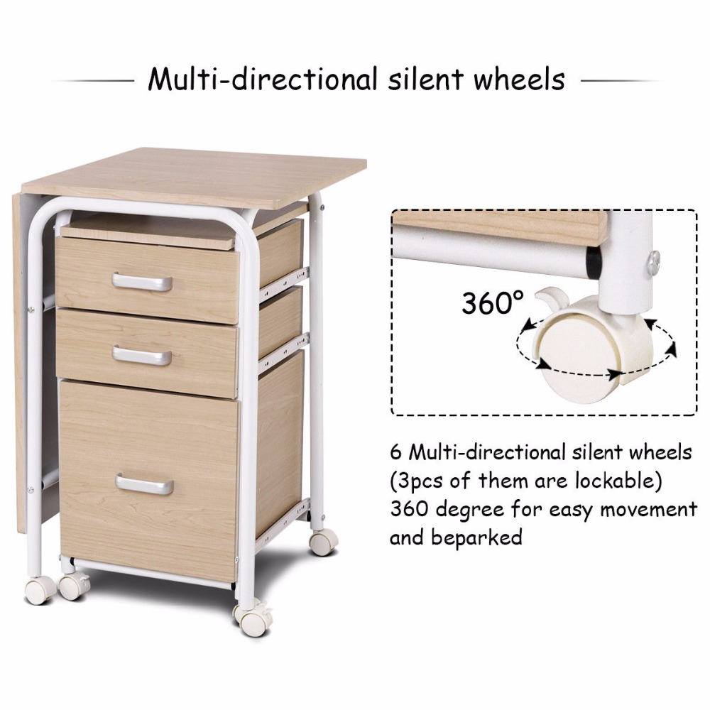 Us 119 99 Goplus Folding Computer Laptop Desk Wheeled Home Office Furniture With 3 Drawers New Modern Workstation Desks Hw58649 In From