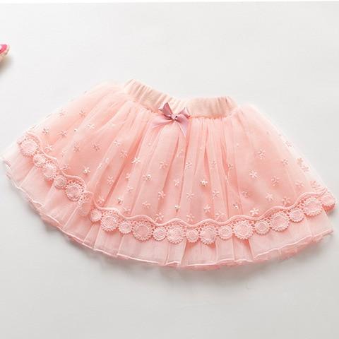 Korean version Pearl lace girls Princess skirt hand-beaded skirts for children jupe 5T 7T 9T 11T