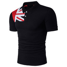 DropshippingNew Men's Flag  Printing  Short Sleeve T-Shirt  Men  Casual  Slim  Fit  T  Shirt US SIZE slim fit round collar poker printing t shirt for men