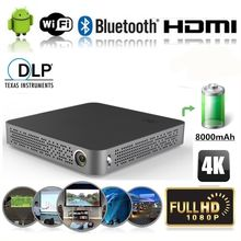 Vivicine 4K Mini Projector M8,Android 4.4 Bluetooth 4.0, 8000mAh battery,Smart HDMI USB PC Game Mobile Proyector Beamer