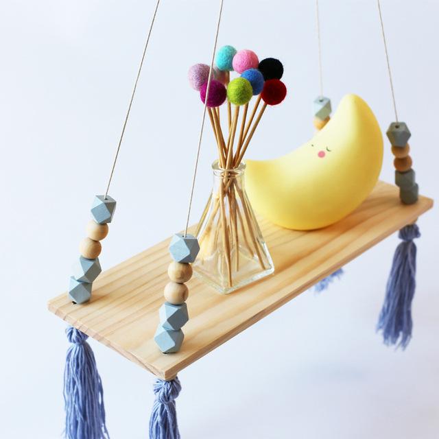 Nordic Style Wooden Pearl Tassel Shelf