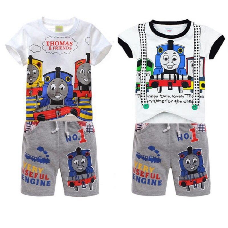 High Quality Thomas train set summer boys cotton clothing sets kids short sleeve t shirt shorts old thomas and friends clothes