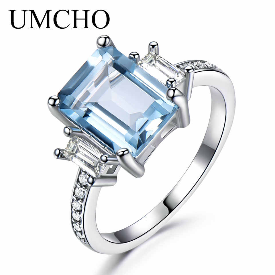 UMCHO Blue Topaz แหวนพลอยแท้ 925 เงินสเตอร์ลิง Aquamarine แหวนโรแมนติกหมั้นเครื่องประดับ