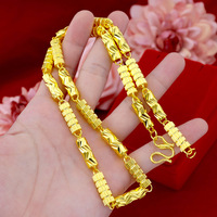 Pure Copper Yellow Gold Filled Solid Carved Necklace Chain Mens Domineering Round Column Chain
