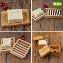 Handmade Bamboo Wooden Soap Holder,Bathroom Soap Tray, Natural Square Soap Box, Mouldproof, Anti Mite, Soap Holder Storage Holde