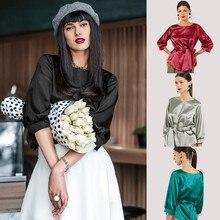 34252dd8ab01c6 Kobiety stylowe topy Casual wokół szyi T koszula łuk nierówna pół rękaw  kobiet koszula jednolity kolor