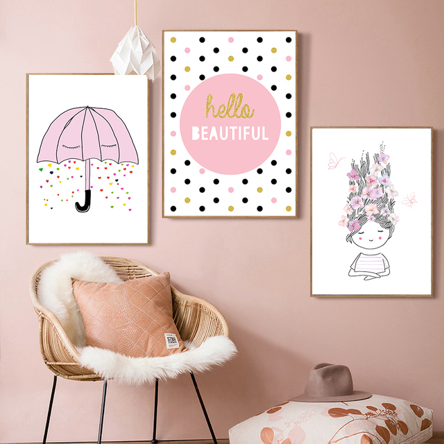 Nordic Letter Cartoon Pink Girls Wall Pictures For Kids Rooms Canvas Painting  Wall Art Posters And