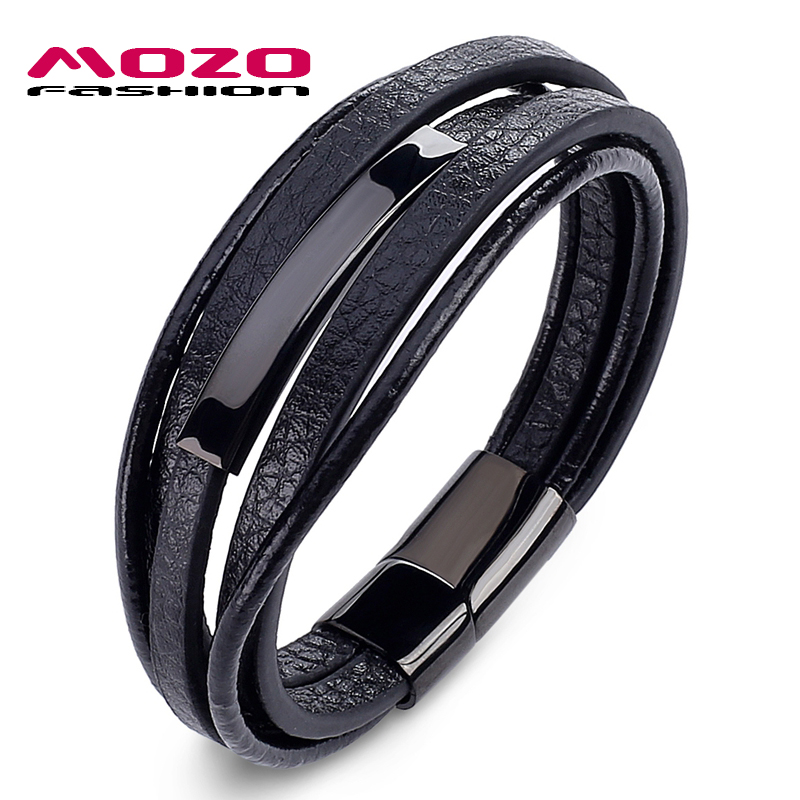 MOZO FASHION Men Charm Simple Classic Bracelets Multilayer Leather Bracelets Stainless Steel Magnet buckle men's Bracelet PS2032 стоимость