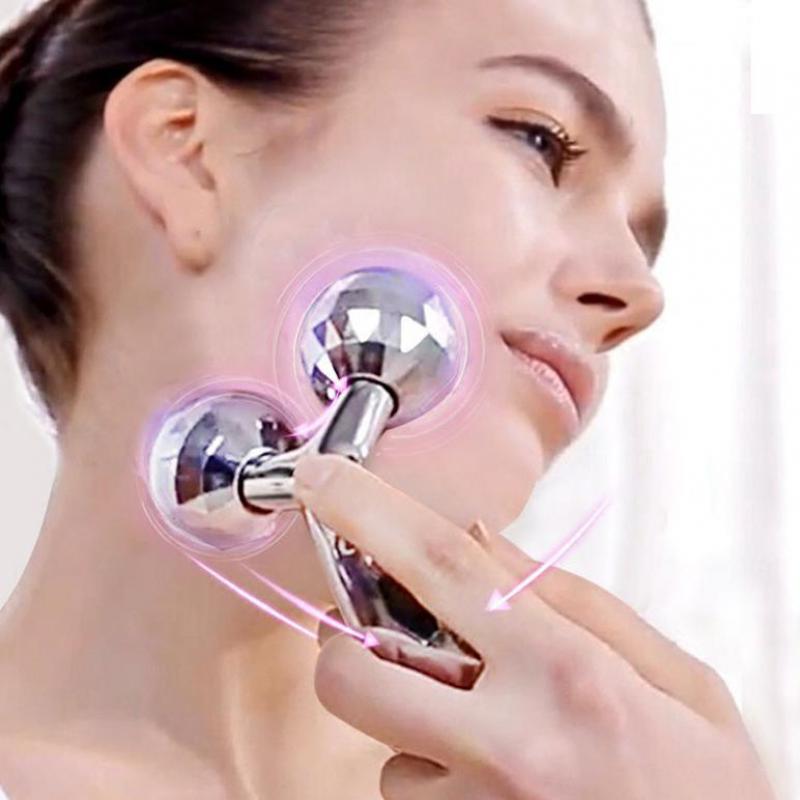 3D Rollmassagegerät 360 Drehen Silber Dünne Gesicht Voller Körper Form Massager Hebe Falten-entferner Gesichtsmassage Entspannung Werkzeug