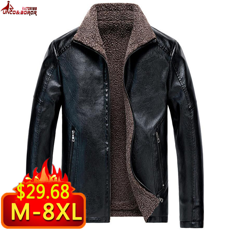 Plus Size M~7XL 8XL Men Leather Suede Jacket Autumn Motorcycle PU Leather Male Winter Bomber Jackets Outerwear Faux Leather Coat