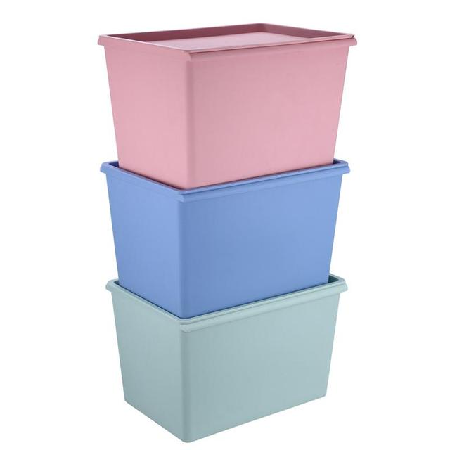 stackable plastic storage box with lid square cloth container organizer - Stackable Storage Bins