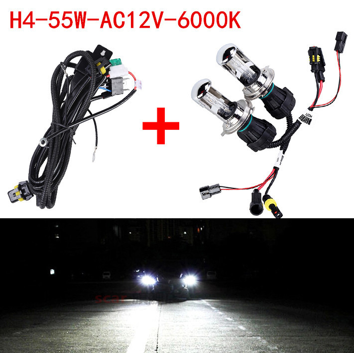 2X Bi Xenon 55W H4 12V AC HID Automotive Headlight Replacement Bulbs H4-3 BiXenon Hi/Lo Beam Lamp only bulb + wire