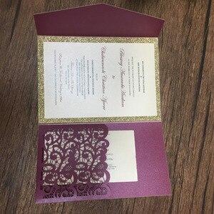Image 2 - レーザー切断トライつ折り結婚式招待状カード高級burgendyワインレッドパール紙招待状パーソナライズ設計