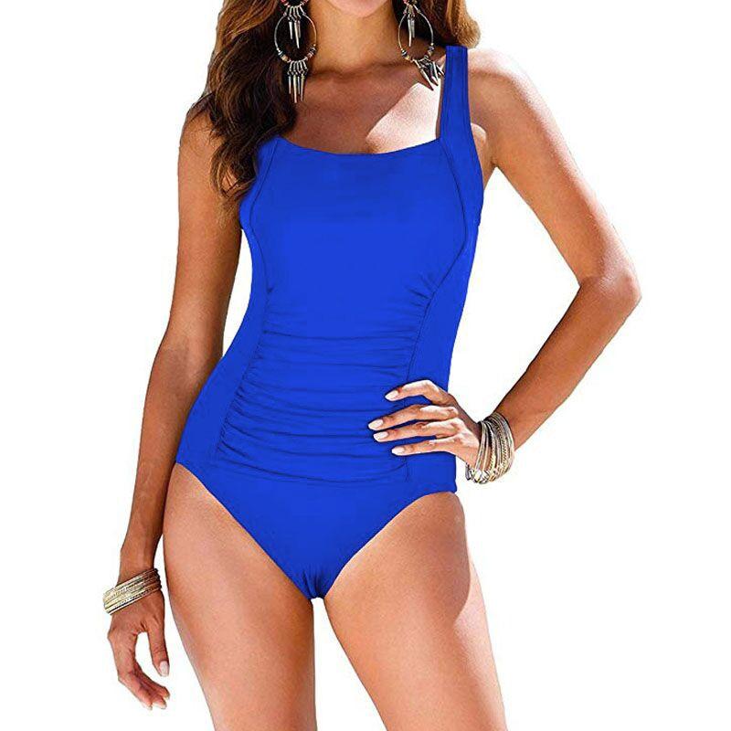 Sexy Plus Size Swimwear Women 2019 One Piece Swimsuit Black Retro Swimming Wear for Bathing Suits monokini maillot de bain femme 5