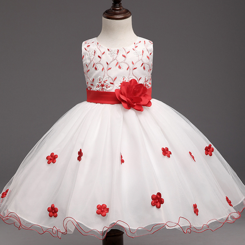 Flower Princess Girls Dress 2018 New Kids Party Dresses For White Wedding Cute Children