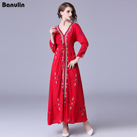 4e12d032079fd Banulin Red Boho Style Long Holiday Women Dress 2018 Runway Cotton  Embroidery Flowers Long Sleeve Sexy