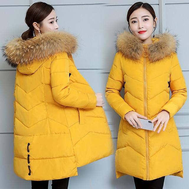 15262f59431 Hot sale Winter 2018 large fur collar down jacket women long parkas coat  Korean slim warm thick cotton coat solid hooded outwear