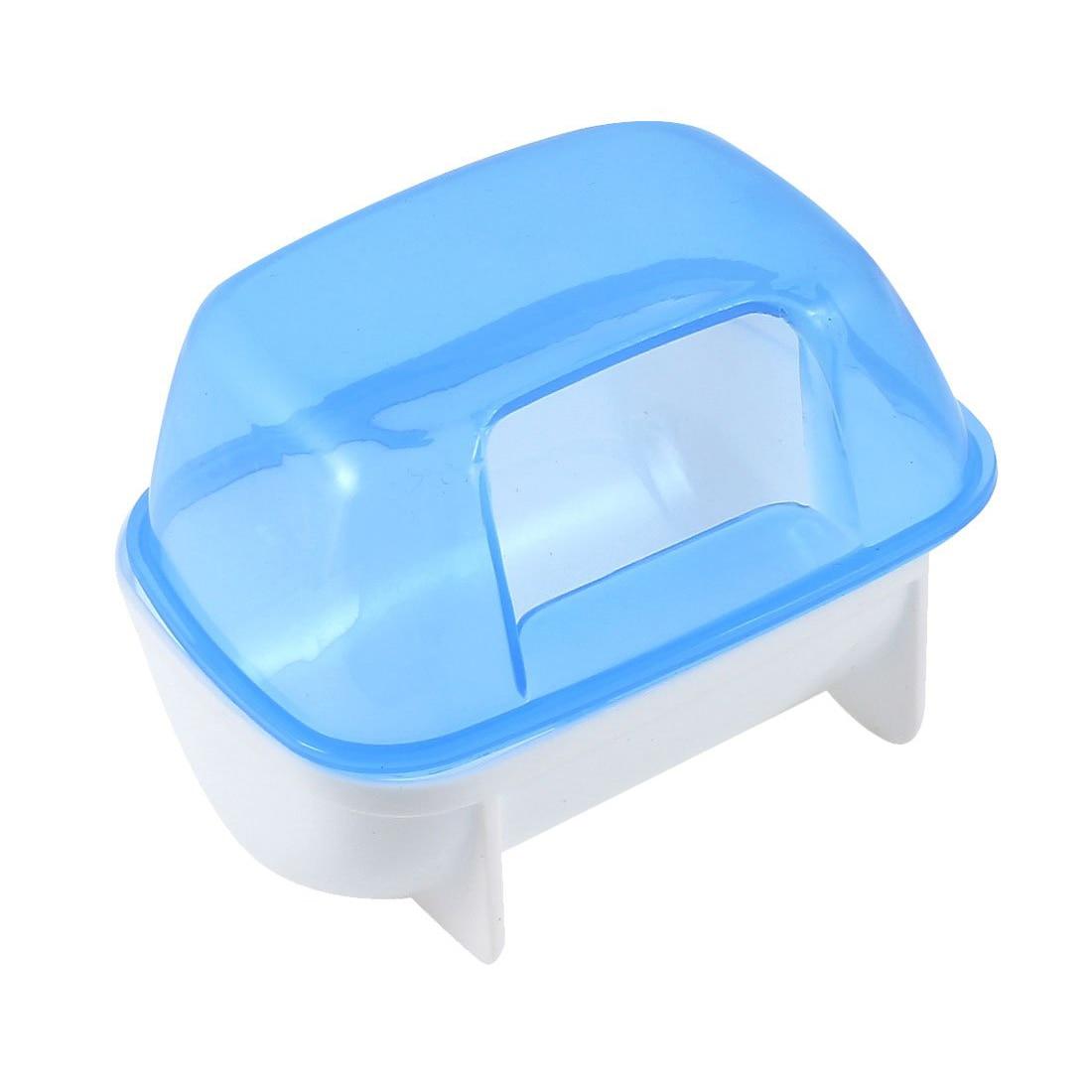 Животное хомяк Ванная комната песок для туалета комната сауна Туалет сине-белые 10 см x 7 см x 7 см
