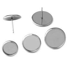 a8fe6a329a2c 30 piezas Real de acero inoxidable pendientes 6 8 10 12 14 16 18 20mm DIY  pendientes en blanco botones de cabujón de Base