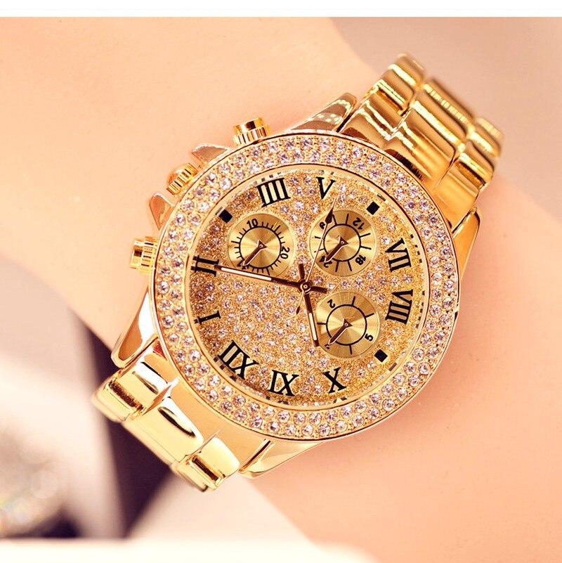 cd7d21c31f8 2019 Nova Alta Qualidade Luxo homens Relógios Das Mulheres Relógio de Ouro  Tira de Aço de