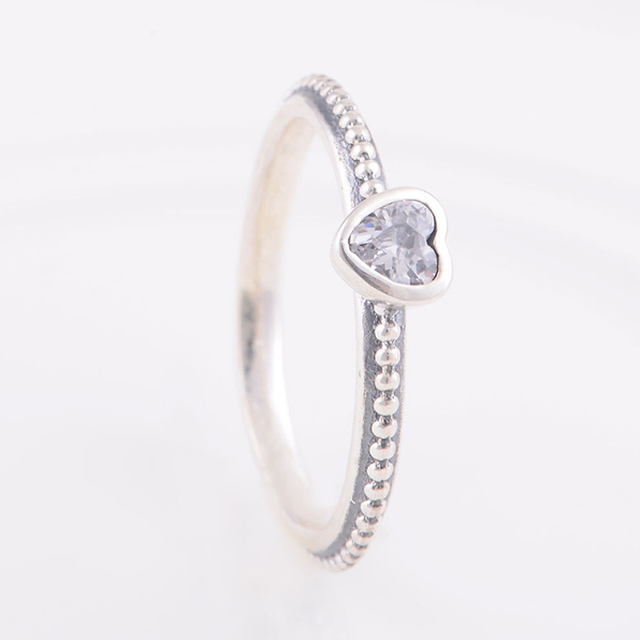 5343ea3c5 Original 925 Sterling Silver Ring Delicate Heart Ring with Clear CZ  Engagement Rings Compatible with Pandora Fashion Jewelry