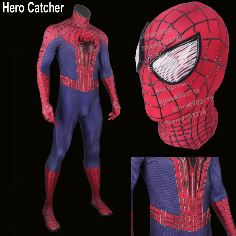Hero Catcher Spiderman Costume Adult 3D Cobwebs Embossed <font><b>Spider</b></font> <font><b>Amazing</b></font> <font><b>Spider</b></font>-<font><b>Man</b></font> <font><b>2</b></font> Cosplay Costume Embossed Spiderman Costume