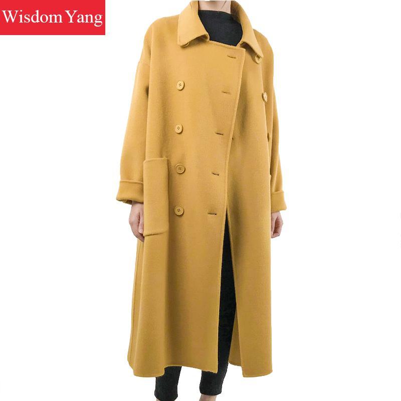 Pardessus Oversize 2018 Manteau Longue Chaud Femmes Grand Lâche Survêtement De Jaune Laine Manteaux Moutons Coat Hiver Yellow Vintage Élégant 8Zwqgqz