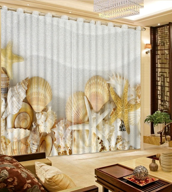Custom Shells Beach Curtains For Bedroom Photo 3D Blackout Window Fashion Home Decoration