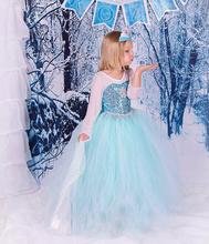 Girl's Dress Snow Princess Party Dress Children Dance Clothes Kid's Cosplay Clothing Princess Elsa Anna Blue Lace Ball Gown Suit