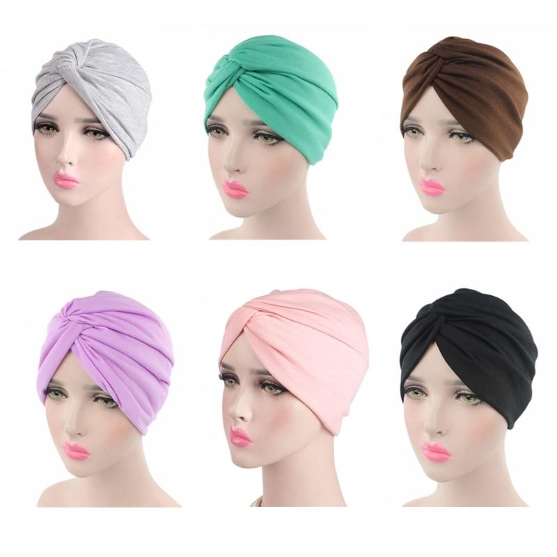 Womens Solid Color Plain Twist Pleated Hair Turban Cap Head Wrap Chemo   Beanie