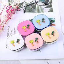 luxury roundness lens box fashion color Contacts Lens  Case Travel high quality water proof lovely container luxury roundness contact lens case color water eye lens box popular travel lens case contact with mirror