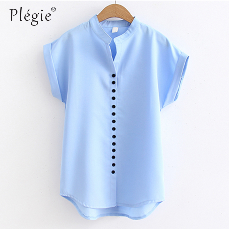 Plegie Womens Tops And Blouses Fashion Buttons Design Women Shirt Blouse OL Style Blusa  ...